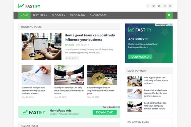 Fastify – Responsive Blogger Template